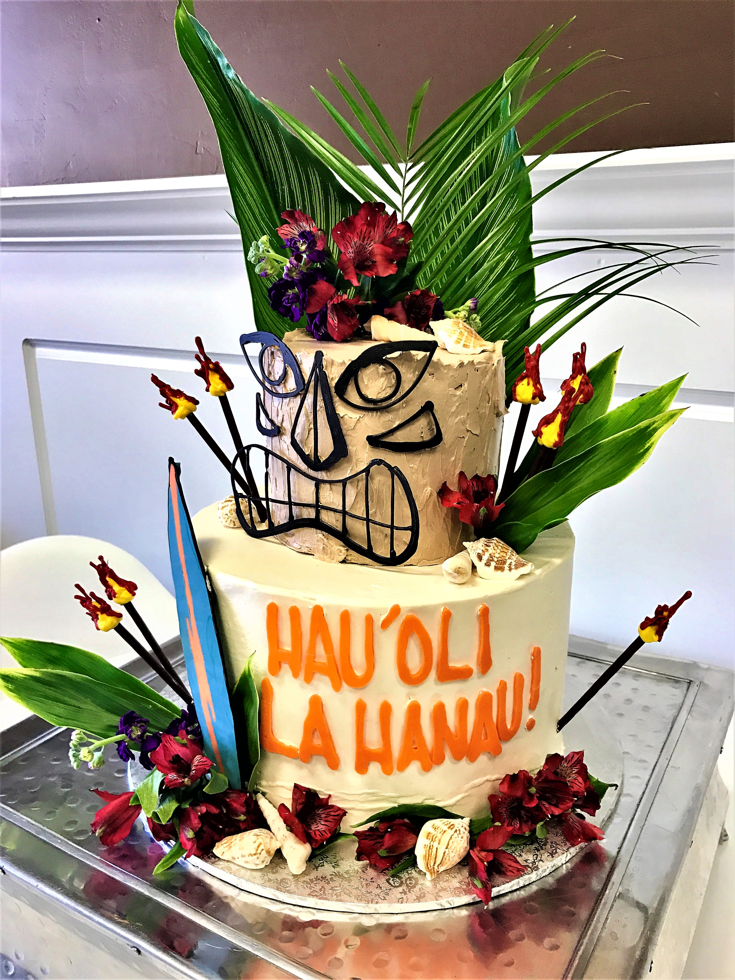 "2 tier: 6'' / 10"" hawaiian cake"