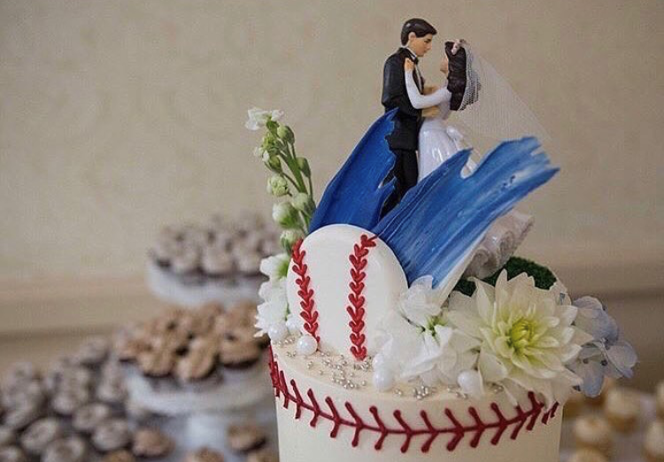 "dessert bar with 6"" dodger themed cutting cake"