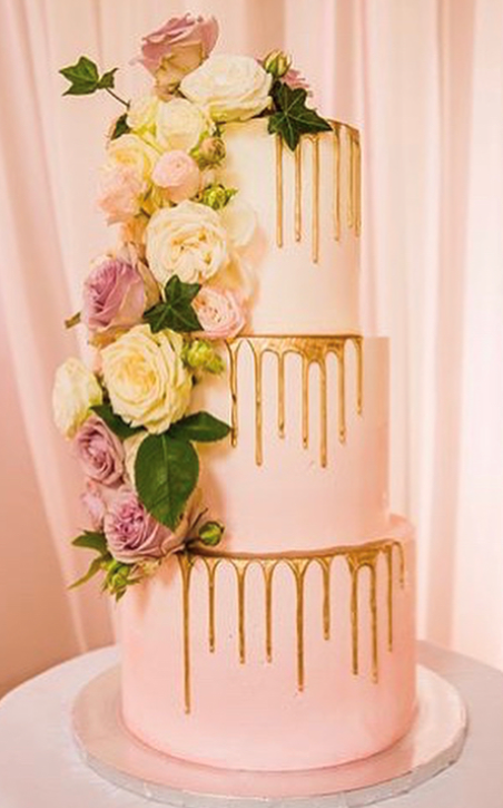 "3 tiered: 6"" / 8"" / 10"" light pink with partial gold drips"